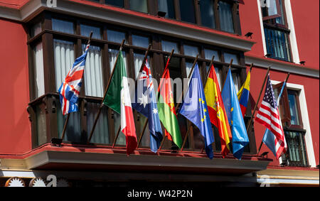 Exhibition of flags of the world in spanish building. - Stock Image