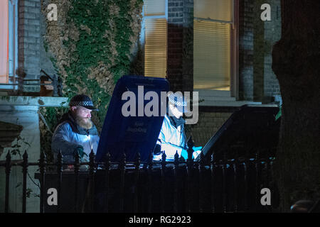 London, UK. 27 January 2019. Police were called to a property in Alfred Road, Acton at 10:15GMT to a concern for welfare. Officers and the London Ambulance Service) attended. A man, thought to be aged in his 30s, was found deceased. At this early stage, his death is being treated as suspicious. Credit: Peter Manning/Alamy Live News - Stock Image
