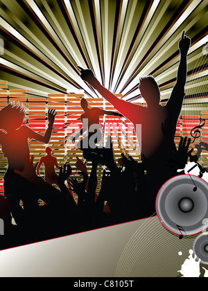 Silhouettes of young people dancing with the dj at the party - Stock Image