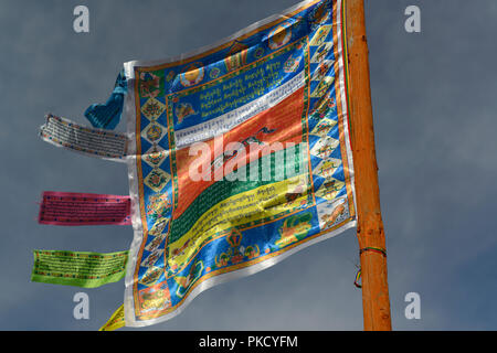 Danzandarjaa Monastery in Mörón, Khovsgol Province, Mongolia.. Prayer Flag at the entrance. - Stock Image