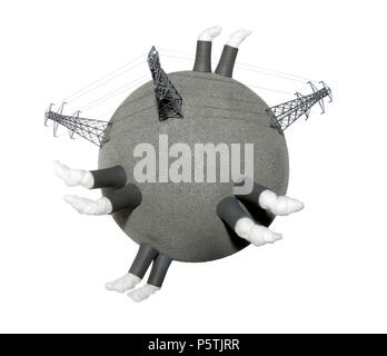 A representation of the planet showing the pollution from energy and power usage. - Stock Image