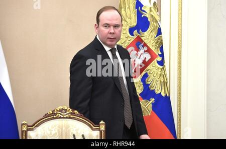 Russian Presidential Chief of Staff Vaino Anton arrives to attend a meeting with the permanent members of the Security Council chaired by President Vladimir Putin at the Kremlin February 1, 2019 in Moscow, Russia. The meeting discussed the United States plan to withdraw from the INF disarmament agreement and the crisis in Venezuela. - Stock Image