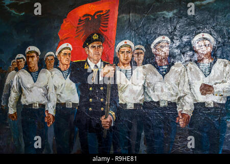 Albanian Sailors defiently marching in front of Russian soldiers Communist era paintings by Robert Permeti Tirana Albania. Ex Officer in Albanian Army - Stock Image