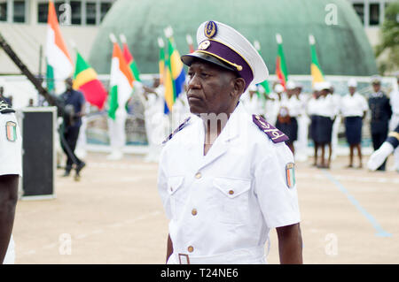 Abidjan, Ivory Coast - August 3, 2017: shoulder pad ceremony for students leaving the Maritime Academy. a senior officer standing in the row waiting f - Stock Image