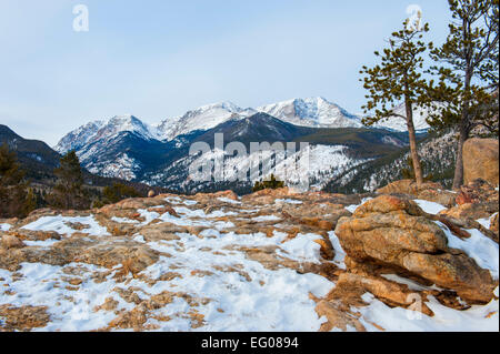 Rocky Mountain National Park, rugged terrain, winter, Landscape, snow - Stock Image