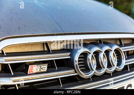 Audi S3 badge, Audi S3, Audi car, Audi cars, Audi sports car, S3 badge, Audi logo, S3, Audi symbol, S3 Audi, Audi S3 front grill, Audi, car, cars, - Stock Image
