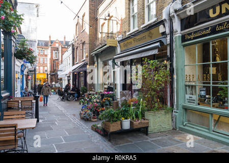 Florist shop pavement display in Flask Walk, Hampstead, London, England, UK - Stock Image
