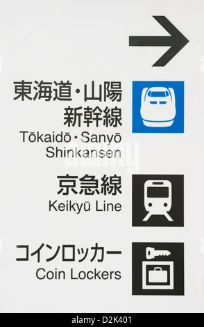 Signs for the Shinkansen at a train station in Tokyo Japan - Stock Image