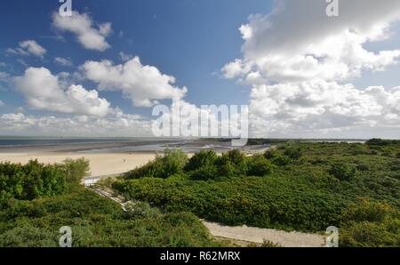 dunes,sandy beach,north sea and veere sea at  - Stock Image