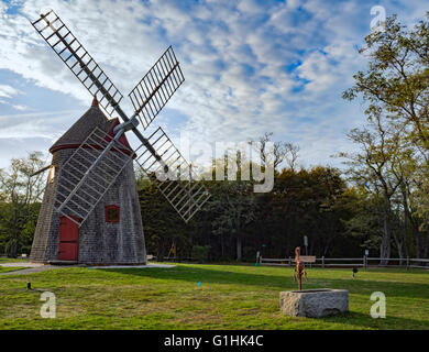 Eastham Windmill Cape Cod Massachusetts, oldest Cape Cod windmill originally built in Plymouth MA 1680, later moved - Stock Image