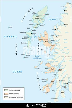 vector map of scottish archipelago hebrides at the north west coast of scotland - Stock Image
