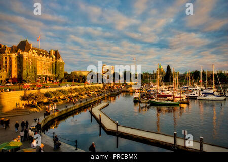Victoria harbor at sunset. Vancouver B.C. Canada - Stock Image
