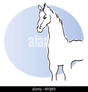 White horse.  vector illustration of standing white horse with blue background. - Stock Image