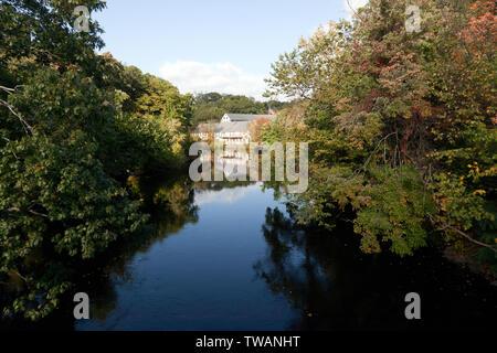 View of the Old Silk Mills, Newton, Massachusetts,  on the Charles River, near Cooks Bridge - Stock Image