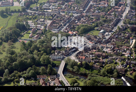 aerial view of Boroughbridge town centre - Stock Image