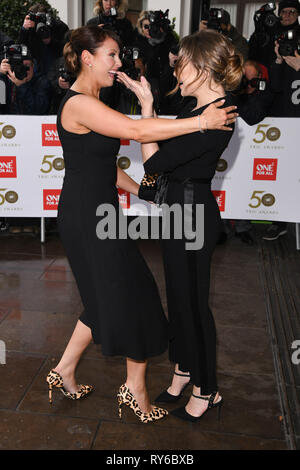 LONDON, UK. March 12, 2019: Emma Barton and Rita Simons arriving for the TRIC Awards 2019 at the Grosvenor House Hotel, London. Picture: Steve Vas/Featureflash Credit: Paul Smith/Alamy Live News - Stock Image