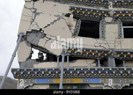 Preserved Building after 2010 Earthquake at Yushu, Qinghai province, China - Stock Image