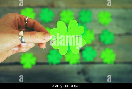 Beautiful close-up of woman hand holds a green irish shamrock with a pile of feast clovers over wooden tables as background bokeh that remind luck - Stock Image