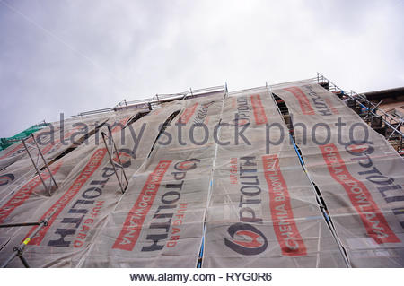 Poznan, Poland - March 8, 2019: Building under renovation by the Ptolith construction company. - Stock Image