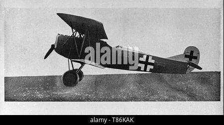 The Fokker D.VII was a German World War I fighter aircraft designed by Reinhold Platz of the Fokker-Flugzeugwerke. Germany produced around 3,300 D.VII aircraft in the second half of 1918. In service with the Luftstreitkräfte, the D.VII quickly proved itself to be a formidable aircraft. The Armistice ending the war specifically required Germany to surrender all D.VIIs to the Allies. Surviving aircraft saw much service with many countries in the years after World War I. - Stock Image