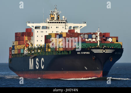MSC Dymphna off Cuxhaven - Stock Image