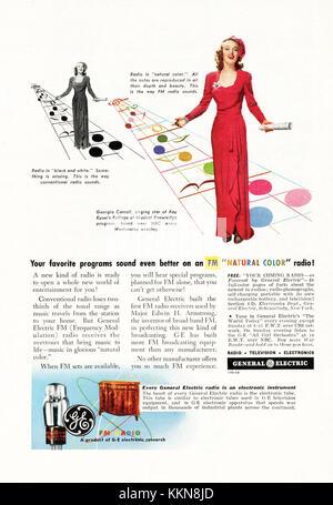 1943 U.S. Magazine General Electric Radio, Television & Electronics Advert - Stock Image