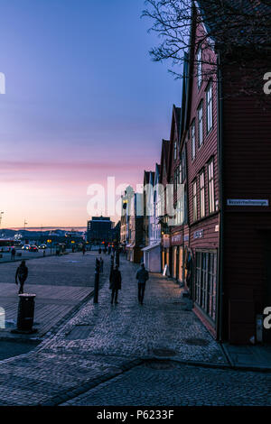 Sunset at the world heritage site at Bryggen, Bergen - Stock Image