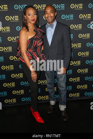 Los Angeles, California, USA. 15 February 2019 - Los Angeles, California - MC Lyte, Lee Davis. ''Loved To Death'' Los Angeles Screening during the Pan Africa Film Festival held at the Baldwin Hills Crenshaw Cinemark Theater. Photo Credit: Faye SadouAdMedia Credit: AdMedia/ZUMA Wire/Alamy Live News - Stock Image