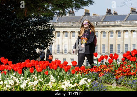 Bath, Somerset, UK, 29th March, 2019. A young woman enjoying the warm sunshine is pictured walking past colourful Tulips in Royal Victoria Park. Credit:  Lynchpics/Alamy Live News - Stock Image