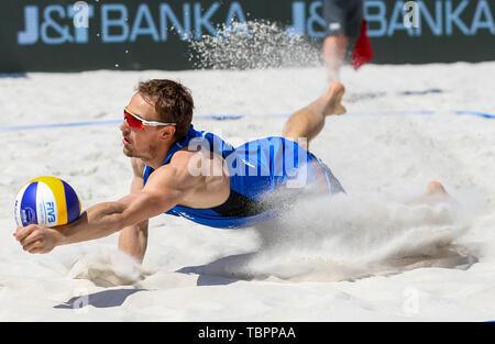 Ostrava, Czech Republic. 02nd June, 2019. Ondrej Perusic (Czech) is seen in action during the four-star J&T Banka Ostrava Beach Open 2019, part of the FIVB Beach Volleyball World Tour, in Ostrava, Czech Republic, on July 2, 2019. Credit: Vladimir Prycek/CTK Photo/Alamy Live News - Stock Image