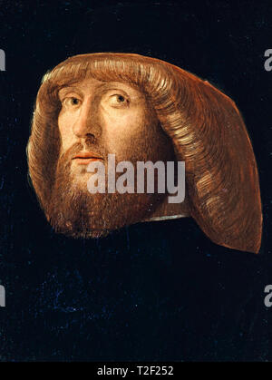 Giovanni Bellini, A Bearded Man, painting, 1485 - Stock Image