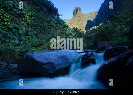 Stream flow at Iao Valley State Park, Maui, Hawaii - Stock Image
