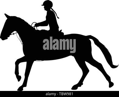 young woman riding horse silhouette. Equestrian sport. Equestrian dressage - vector - Stock Image