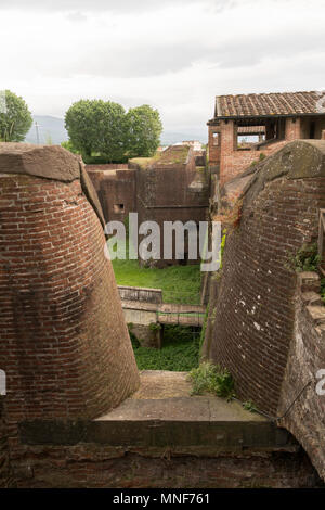 The walls of the fortress of Santa Barbara, Pistoia, Tuscany, Italy, Europe - Stock Image