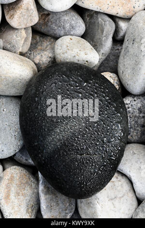 Detail of stone beach along Acadia National Park shoreline. - Stock Image