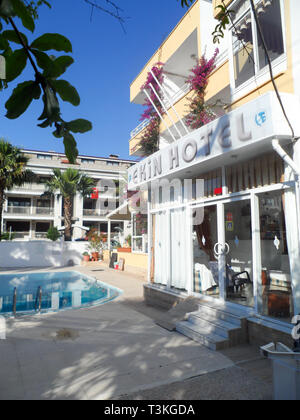 Ekin hotel reception entrance and pool, Marmaris, Mugla province, Turkey - Stock Image