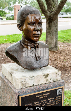 Tampa Florida freedom fighter Paulina Pedross Black woman history bust memorial statue - Stock Image