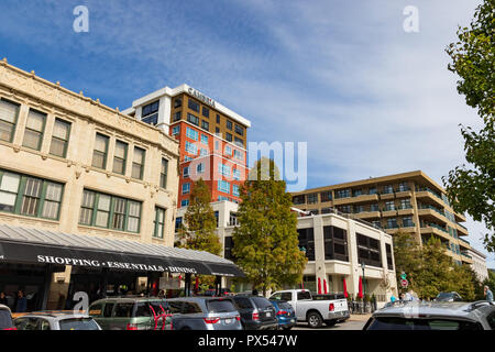 ASHEVILLE, NC, USA-10/17/18: View of the Grove Arcade, Cambria Hotel, and 21 Battery Park Condos and Lofts. - Stock Image