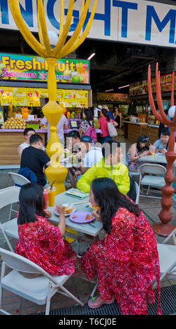 Outdoor eating area, food court, The Block, hotel and complex, Patong, Phuket island, Thailand - Stock Image