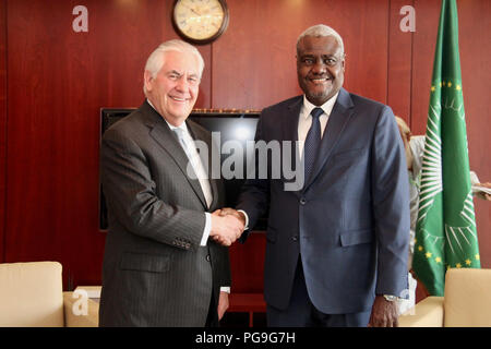 U.S. Secretary of State Rex Tillerson meets with African Union Commission Chairperson Moussa Faki at the African Union Commission Headquarters in Addis Ababa, Ethiopia on March 8, 2018. - Stock Image