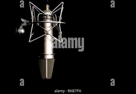microphone detail in music and sound recording studio, black background, closeup - Stock Image