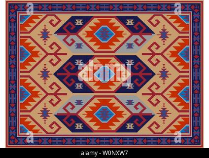 Vintage luxury oriental carpet in yellow, maroon shades with gray and ultramarine and orange patterns - Stock Image