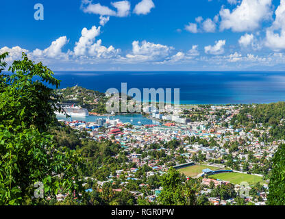 Castries Saint Lucia, Caribbean, viewed from the Howelton Estate. - Stock Image