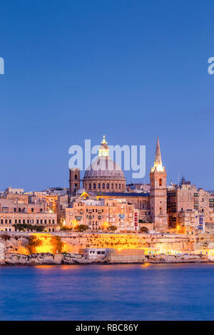 Malta, Malta, Valletta, View over Old Town with St John's Co-Cathedral - Stock Image
