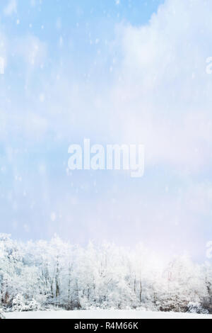 Snow falling softly against a blurred background of winter landscape of snow covered trees with large expanse of sky. - Stock Image