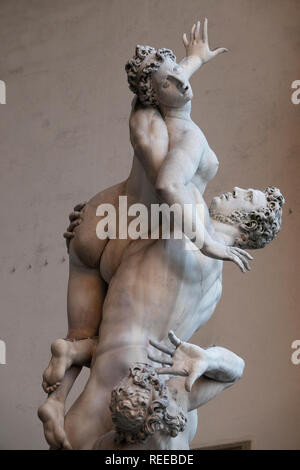 Italy Florence The Rape of the Sabine Women by Giambologna at the Loggia dei Lanzi outdoors by the Uffizi Gallery - Stock Image