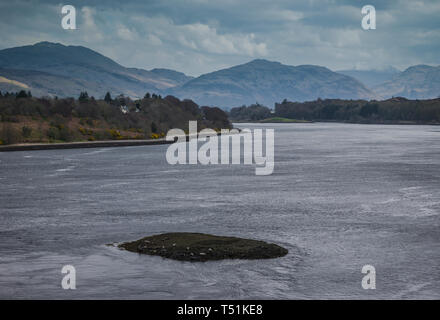 A small island that supports a wild seal colony on Loch Etive, close to the Connel Bridge, Oban, west coast of Scotland. - Stock Image