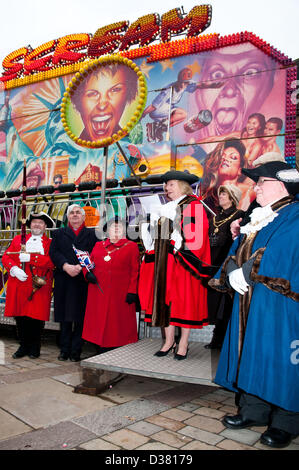 Mayor of Lichfield, Councillor Mrs Jeanette Eagland welcoming the public to the traditional Shrovetide Fair in the - Stock Image