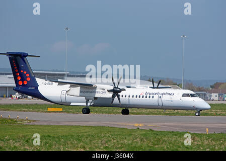 Passengers all boarded Brussels flight enters runway 05 ready for departure from Inverness Dalcross Airport in the - Stock Image