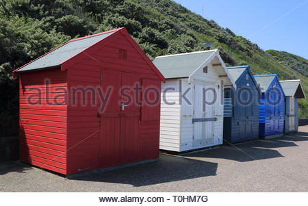 beach huts at the seaside town of caister on the norfolk coast - Stock Image